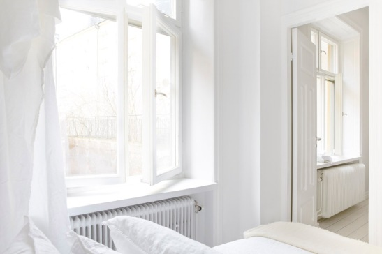 white bed room stockholm