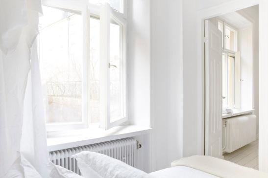 white bed room stockholm