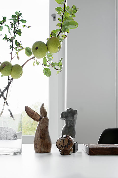 Kanin äpplen matbord dekoration