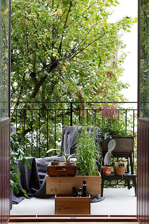 Balkkong grönt balkongmöbler växter Långholmsgatan