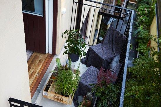 Balkong balkongmöbler växter Långholmsgatan
