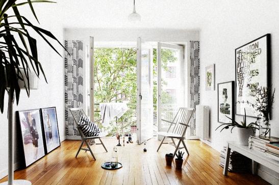 Vardagsrum balkong parkett stolar Möregatan