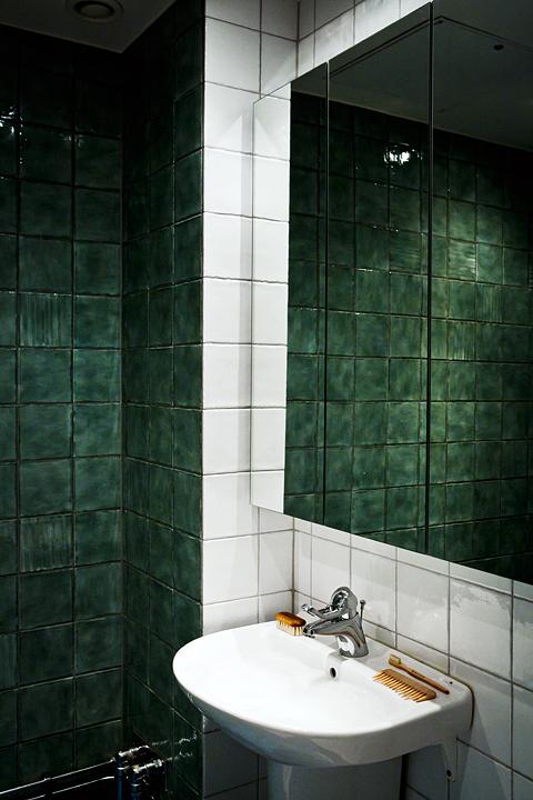 badrum grönt kakel Bastugatan