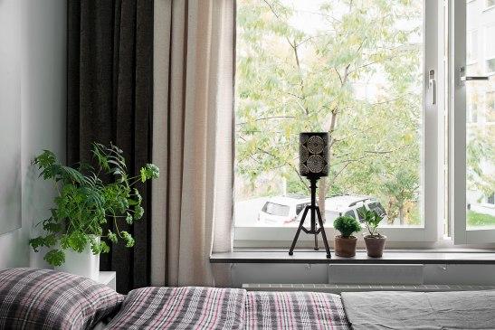 Sängkammare fönster lampa filt