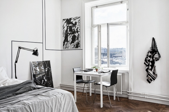 Sovru skrivbord konst fönster