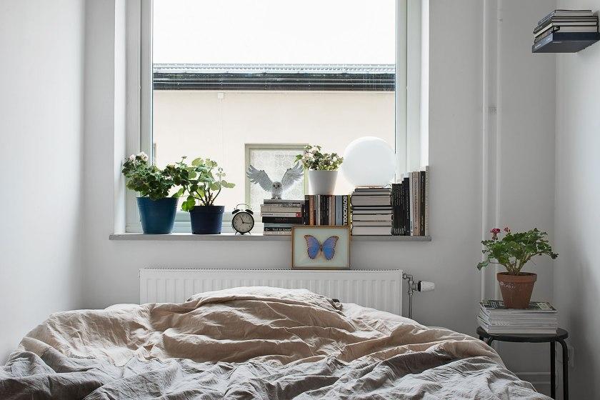 Säng fönster konst blomkruka