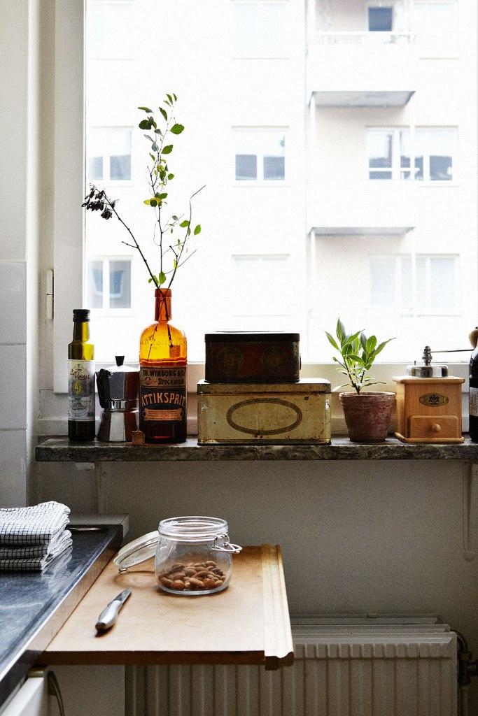 Kök fönster blommor köksbord