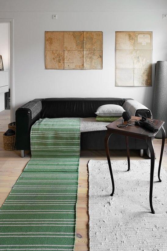 Soffa löpare matta soffbord konst