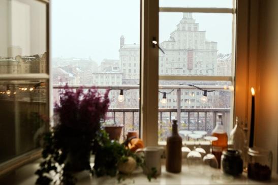 Fönster utsikt balkong vasastan