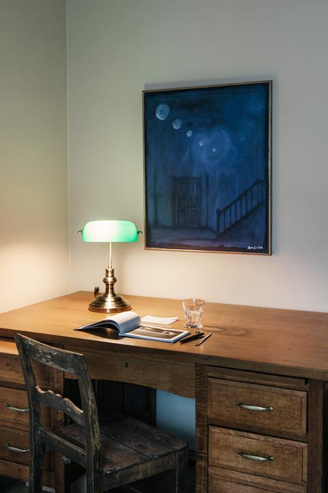 Skrivbord konst vintage lampa