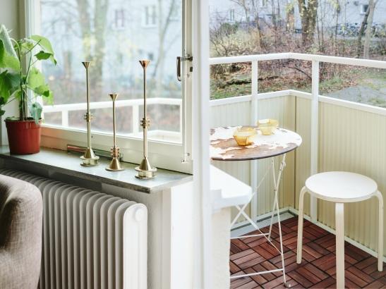 Balkong balkonbord frukost ljusstakar