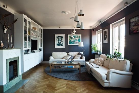 vardagsrum soffmöbler grå vägg