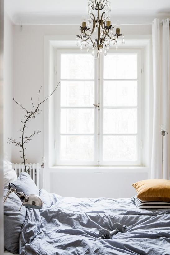 fönster sovrum gren säng