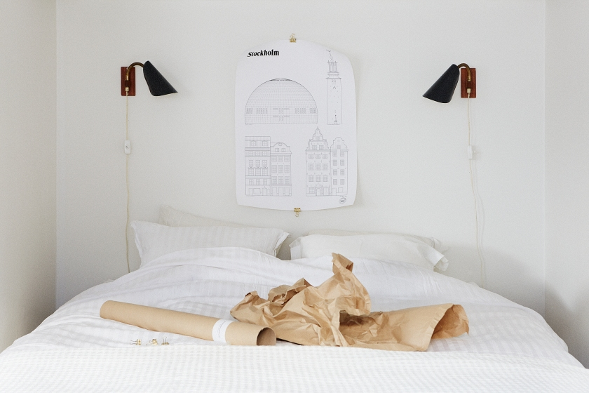 Säng Studio Esinam papper sänglampa sovrum