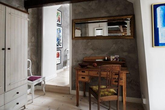 grå vägg skrivbord vintage