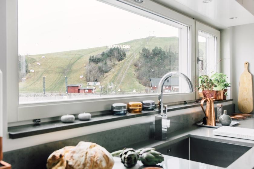 Fönster bröd kök utsikt