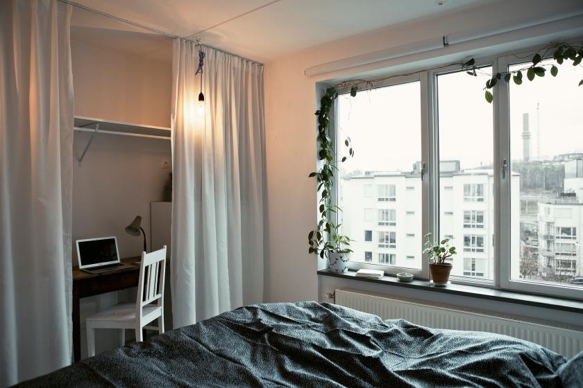 Sovrum girland linne säng