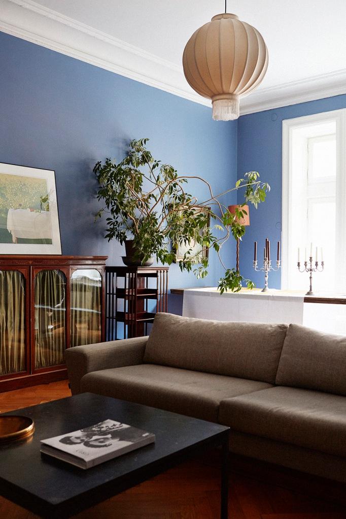 Soffa blått växt matbord