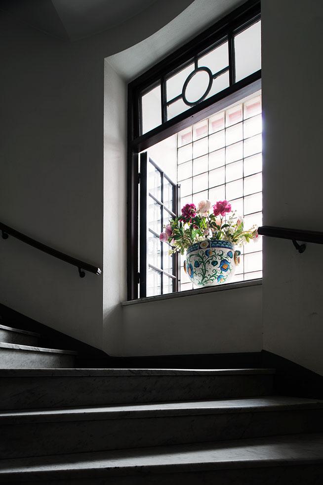 Trappuppgång blomma fönster