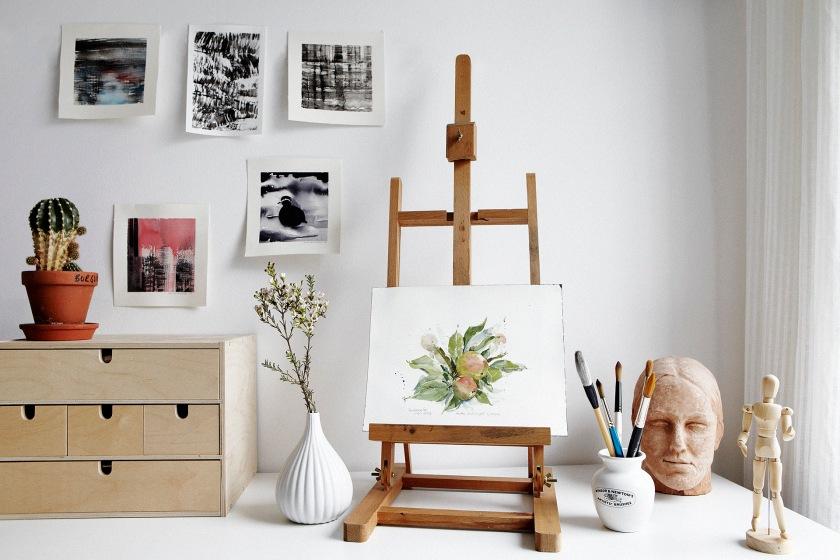 Konst staffli atelier vas