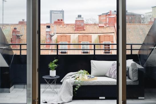 takterrass utsikt balkongmöbler filt