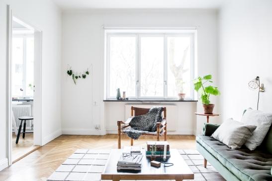 Vardagsrum soffa fåtölj matta soffbord kuddar växt