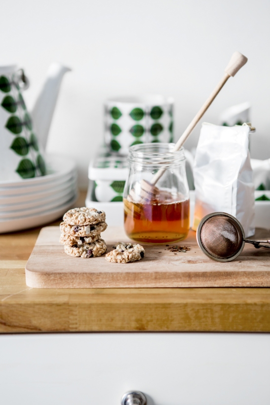 Kök honung kanna koppar kakor skärbräda