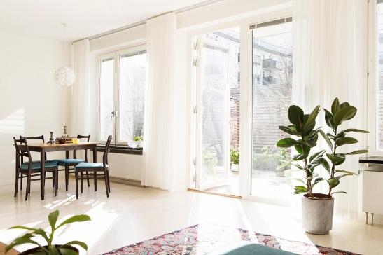 Vardagsrum växt matta matbord stolar ljus gardin