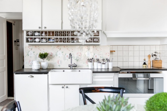 Bromma kök vitt 20-tal vintage tapet glasvägg