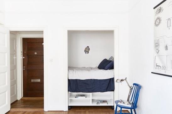 Kungsholmen säng platsbyggd sovloft förvaring marint