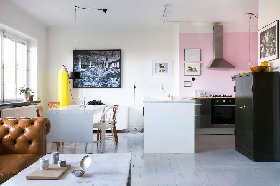 Lundagatan 36 d stockholm livingroom marble dining table pencil yellow pink white skin fantastic frank