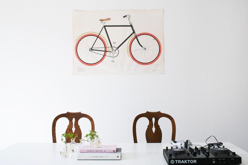 Sofo vardagsrum matbord dj väggplansch cykel