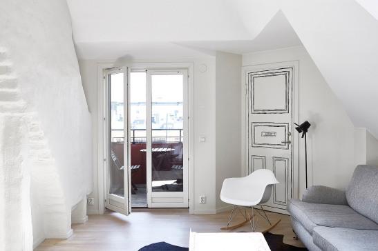 Vasastan vardagsrum soffa utgång till terrass