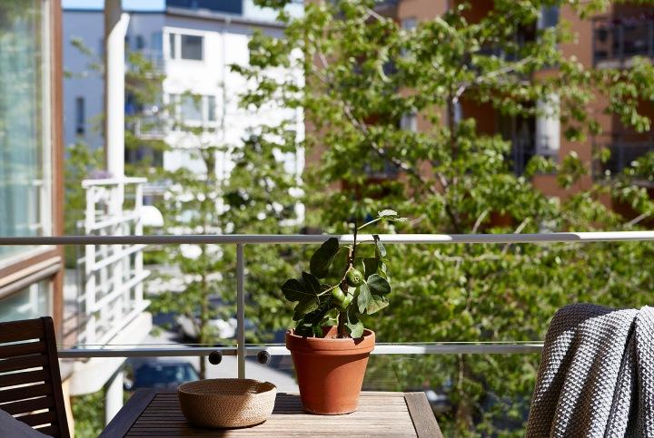 Sickla Kanalgata Hammarby Sjöstad fönster skrivbord Balkong sommar grönska Fantastic Frank