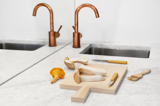 Östermalmsgatan chanterelle mushroom wood copper kitchen marble knife Fantastic Frank