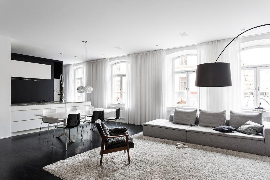 Norra Agnegatan Kungsholmen Black white curtains kitchen livingroom sofa Fantastic Frank