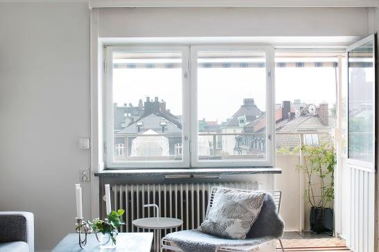 Valhallavägen vardagsrum utsikt balkong Fantastic Frank