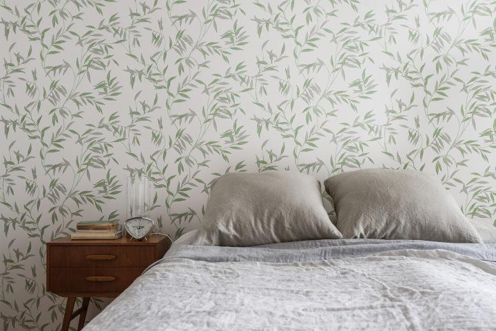 Hammarby Sjöstad bedroom wallpaper grey vintage retro teak fantasticfrank