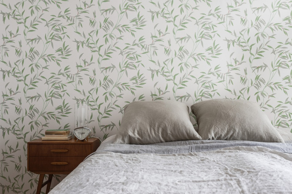 Hammarby Sjöstad bedroom wallpaper grey vintage retro teak fantasticfrank