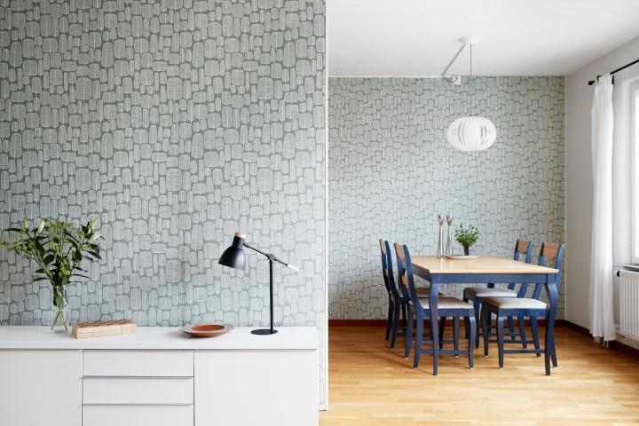 Hammarbysjöstad vardagsrum wallpaper tapet grön vit fantasticfrank