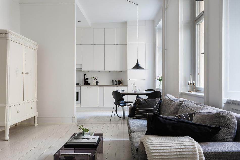 Rörstrandsgatan Birkastan livingroom kitchen white black grey Fantastic Frank