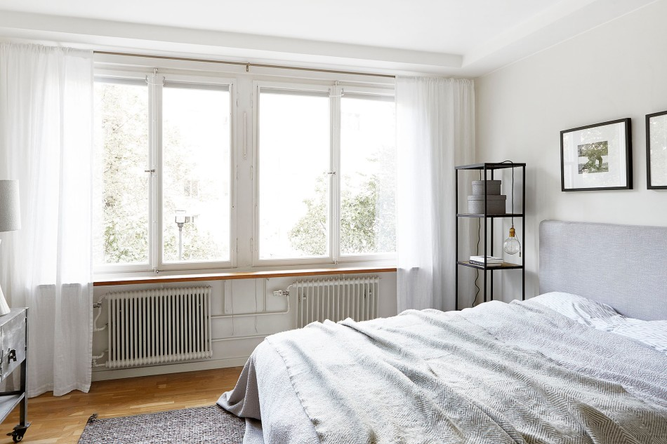 Svarvargatan Kungsholmen townhouse bedroom grey white Fantasticfrank