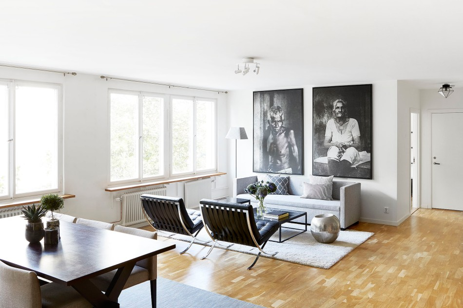 Svarvargatan Kungsholmen townhouse grey black white art Mies van der Rohe Barcelona Fantasticfrank