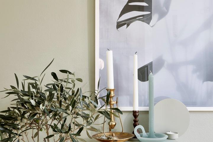 Mariagatan Sundbyberg details candles green turqouise brass Fantastic Frank