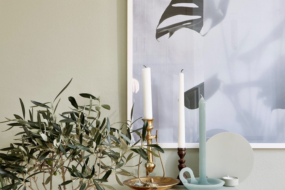 Mariagatan Sundbyberg details candles green turqouise brass Fantastic Frank