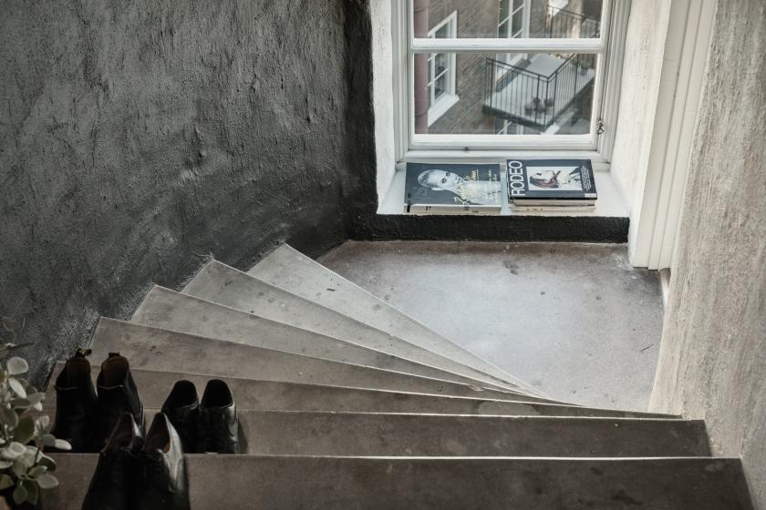 Norrbackagatan Stockholm stairs black grey rodeo attic Fantastic Frank
