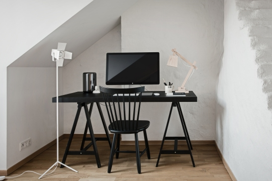 Norrbackagatan Stockholm work space black white computer attic Fantastic Frank