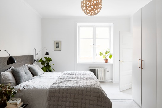 Rörstrandsgatan Stockholm bedroom grey white Fantastic Frank