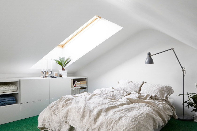 Rosenlundsgatan Stockholm bedroom green white attic Fantastic Frank