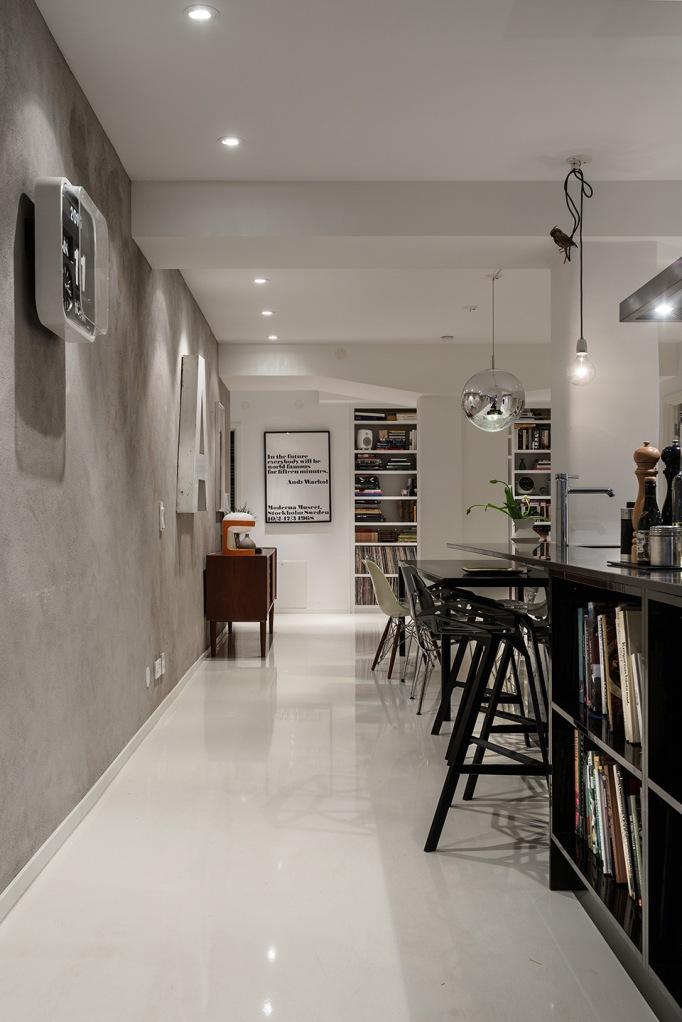 dalagatan Kitchen diningroom white grey concrete teak lamps Stockholm Fantastic Frank